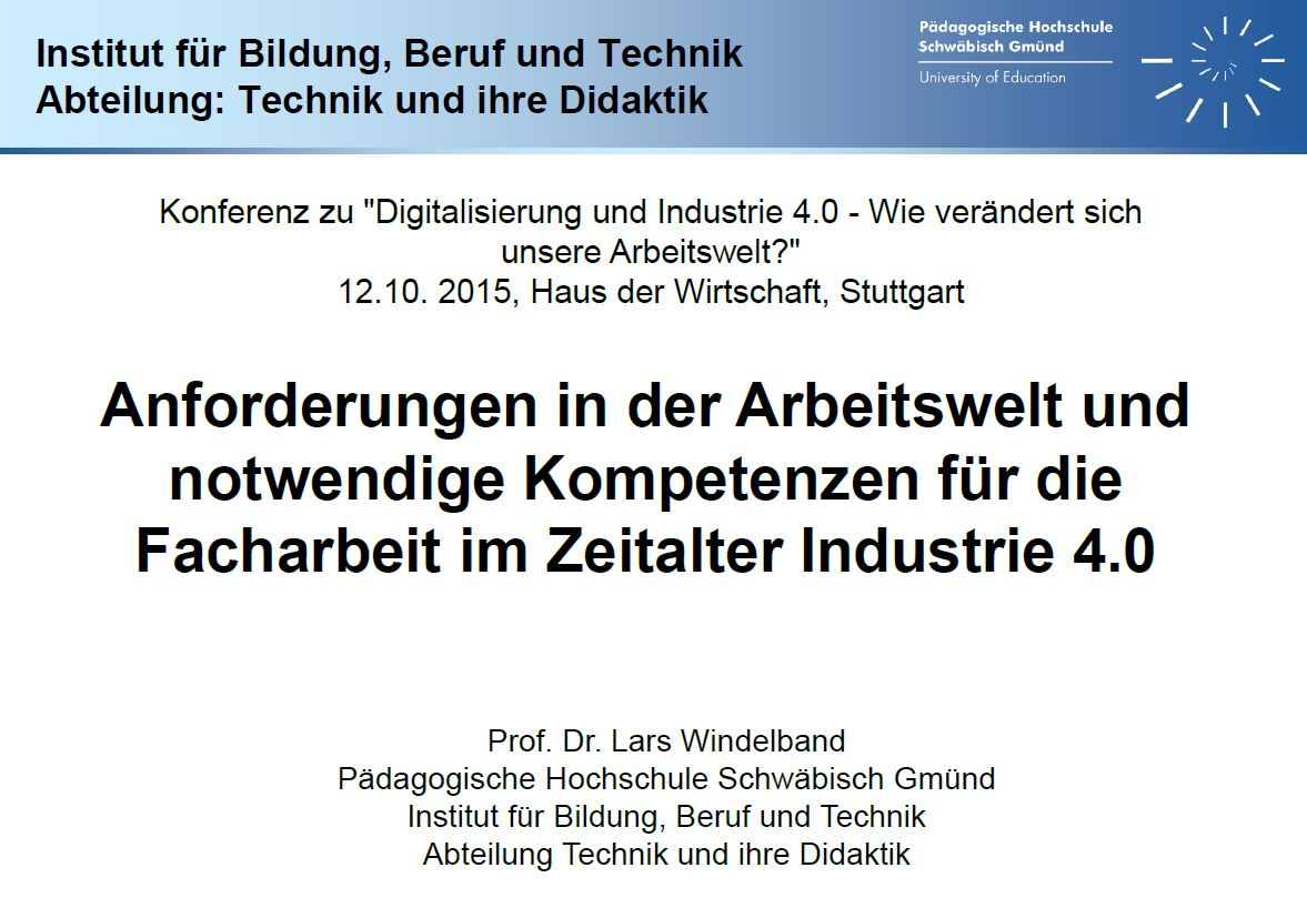 Anforderungen in der Arbeitswelt und notwendige Kompetenzen für die Facharbeit im Zeitalter Industrie 4.0