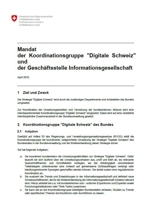 "Mandat der Koordinationsgruppe ""Digitale Schweiz"""