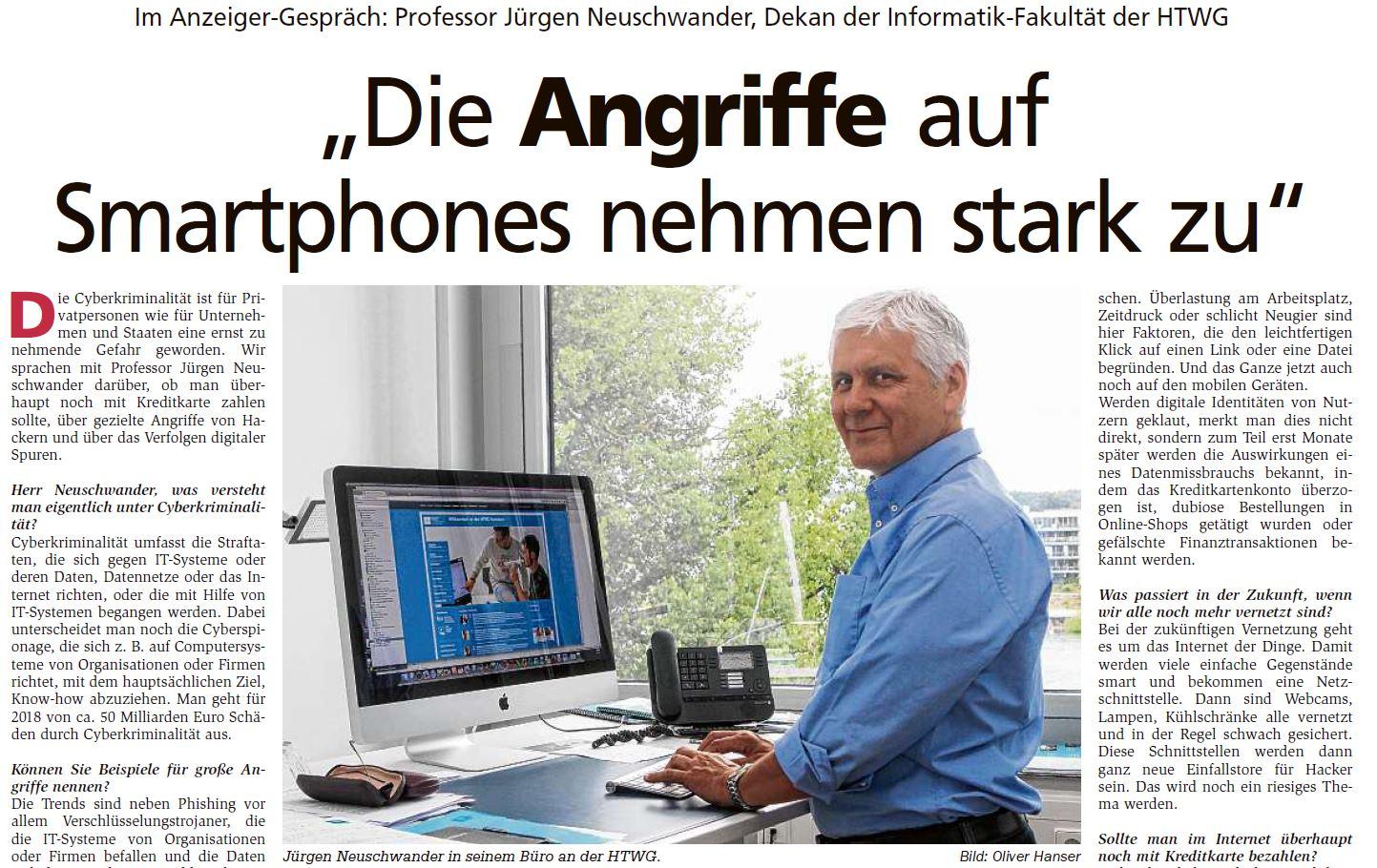 Prof. Dr. Jürgen Neuschwander im Interview: Angriffe von Smartphones