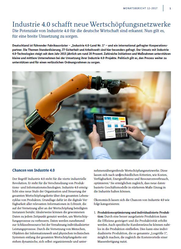 Industrie 4.0 schafft neue Wertschöpfungsnetzwerke