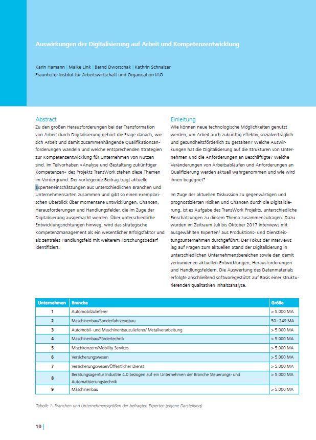 Auswirkungen der Digitalisierung auf Arbeit und Kompetenzentwicklung